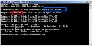 O comando PING -A descobriu (resolveu) que o endereço IP 192.168.1.1 corresponde ao computador de nome SERVER01