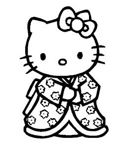 Disegno da colorare di Hello Kitty in Kimono