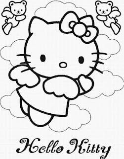 disegno da colorare di Hello Kitty la romantica