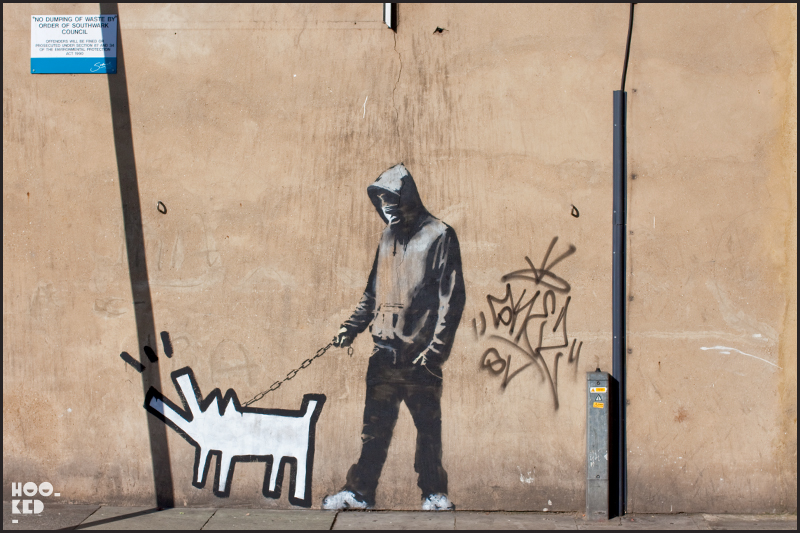 Banksy Hoodie Stencil Walking dog in South London.