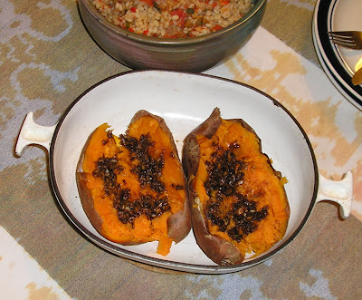 Sweet Potatoes with a Spicy Ginger Garlic Sauce