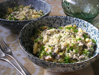 Pasta with a Creamy Mushroom, Celery and Leek Sauce