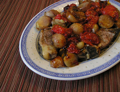 Lamb Chps with Roasted Tomatoes and Shallots