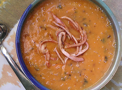 Carrot Soup with Bacon and Shallots