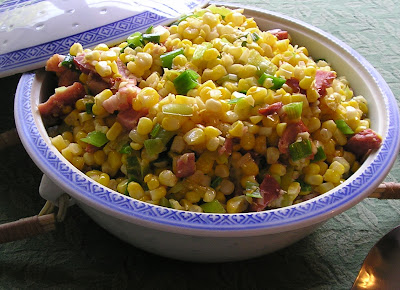 Sauteed Corn with Bacon, Peppers and Green Onion