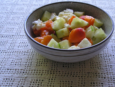 Apricot, Cucumber and Feta Cheese Salad