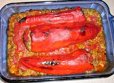 Red peppers stuffed with lamb, wild rice and barley