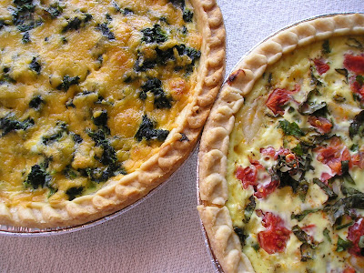 Spinach, Mushroom and Cheddar Quiche with Tomato, Basil and Goat Cheese Quiche