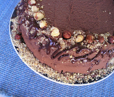 Chocolate Whipped Cream Frosting on Hazelnut Torte