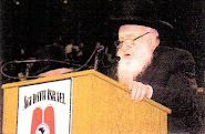 Lipa Marguelis posing at the agudah podium