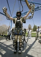 Software engineer Rex Jameson stretches in a robotic soldier suit being made for the U.S. Army