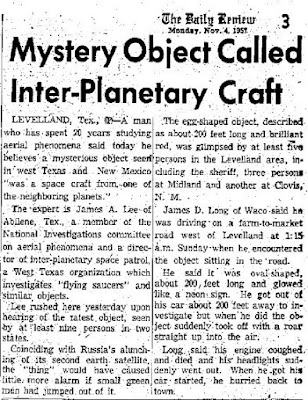 Mystery Object Called Inter-Planetary Craft - The Daily Review 11-4-1957