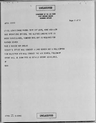 Air Force Staff Message UFO Landing Bolt Montana March 1967 (B)