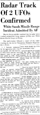 Radar Track of Two UFOs Confirmed - Tucson Daily Citizen 5-25-1964