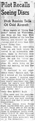 Pilot Reports Seeing Discs (A) - The Oregonian 7-3-1947