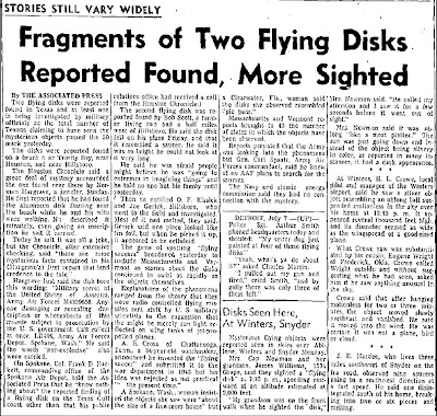 Fragments of Two Flying Disks Reported Found, More Sighted - Abilene Reporter News 7-8-1947