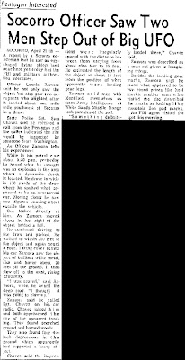 Socorro Officer Saw Two Men Step Out of Big UFO - Albuquerque Tribune 2-25-1964