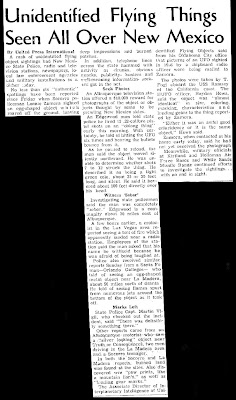Unidentified Flying Things Seen All Over New Mexico - Las Vegas Daily Optic 4-28-1964
