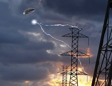 UFO with Orb Extracting Electricty From Power Lines