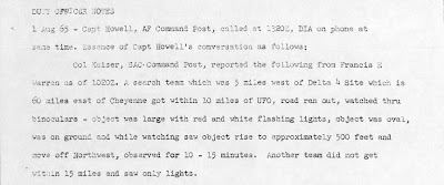UFO Report at  Missile Site, Cheyenne, Wyoming 8-1-1965 (Snippet)