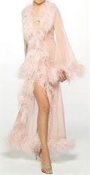 Silk chiffon and feather Marlene Dietrich robe