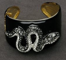 Kenneth Jay Lane Black Enamel Cuff with Gems