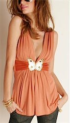 SKY - Burnt Orange Sleeveless with Gold Butterfly