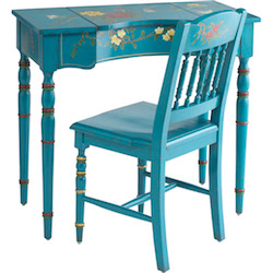 turquoise desk and chair set