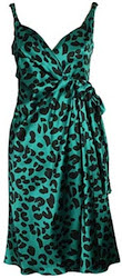 David Szeto emerald green leopard wrap dress