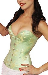 green Chinese brocade corset