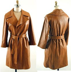 caramel leather wrap trench