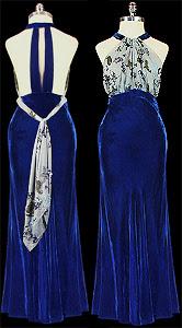 blue velvet vintage gown
