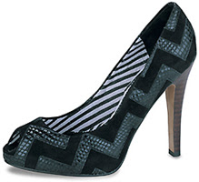 L.A.M.B. Lakeview snake and suede pumps