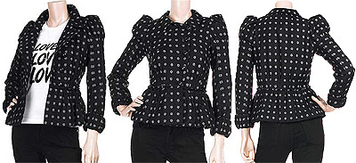 woolen polka dot short coat