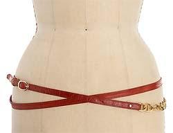 Bing Bang Twice Around Red Skinny Wrap Belt