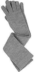 Gray elbow length merino gloves