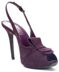 Giambattista Valli Purple Suede Peep-Toe Slingback