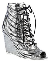 Chanel metallic perforated lambskin open toe ankle boots on wedge