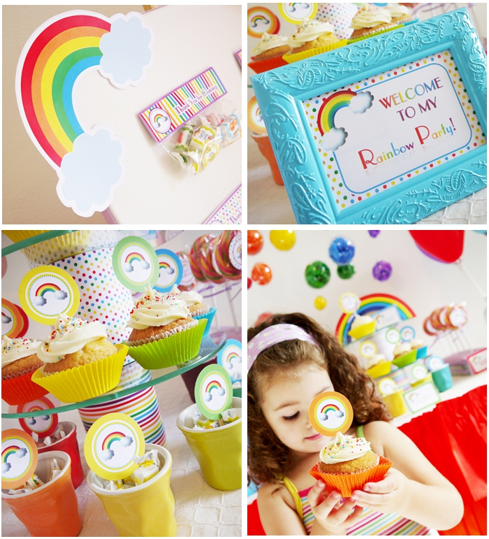 Rainbow Birthday Party with Printables and party desserts table - BirdsParty.com