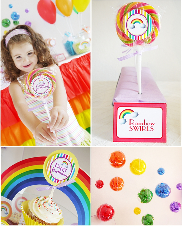 Rainbow Birthday Party with Printables styling - BirdsParty.com