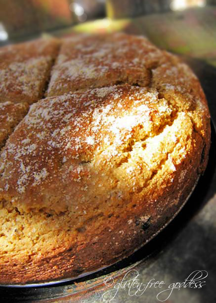 A loaf of Irish Soda Bread warm from the oven. Serve with potato cabbage soup.