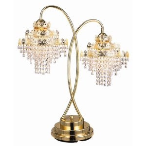 Vintage Crystal Chandelier Table Lamp