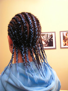 French Braid Haircut with Blue Color for American african