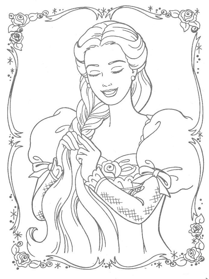 Disney princess coloring pages free printable for Disney princess rapunzel coloring pages