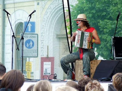 Petra Peskova and her clown-acting during the city festival, Pisek, June 13, 2008