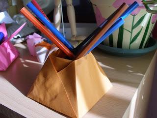Pencil holder origami