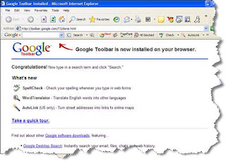 You're locked and loadedtime to start using the Google Toolbar.