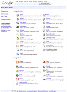 The Google More, more, more page always contains the list of all Google's tools and services.