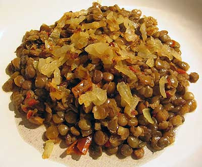 Lentils with Browned Onion and Garlic