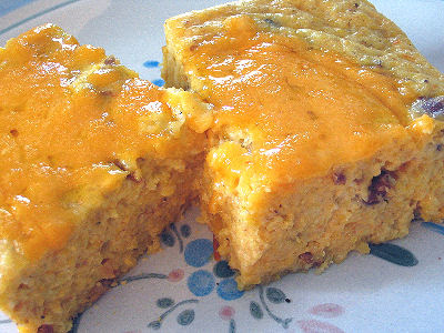 Egg And Cornmeal Pudding With Refried Beans